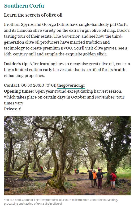 Corfu Olive Tours at The Telegraph